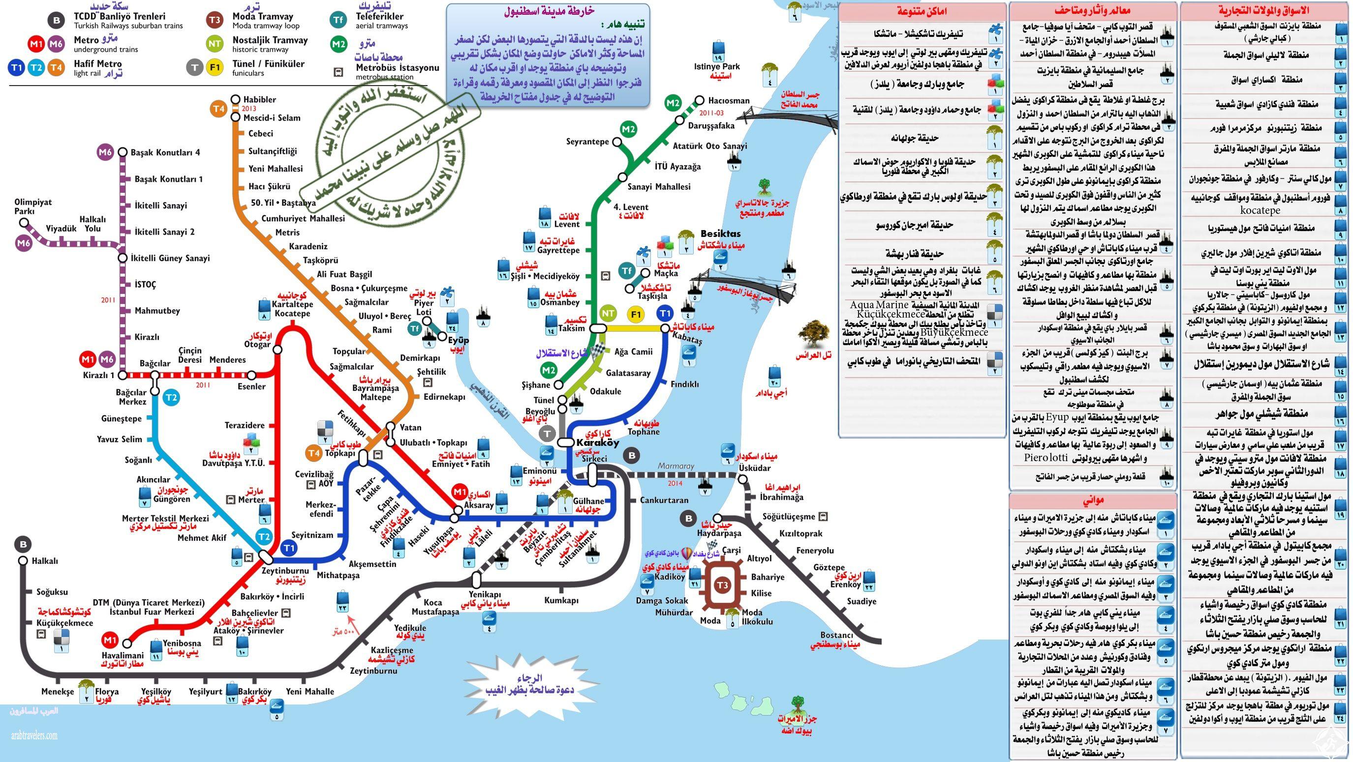 خريطة مترو اسطنبول بالعربي مع أهم المعالم