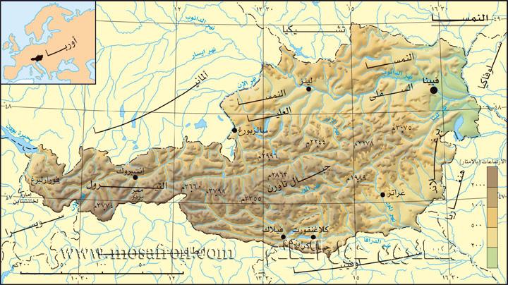 خريطة النمسا بالعربى