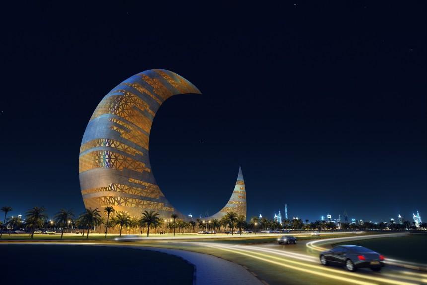 تقرير مصور عن برج هلال القمر في دبي
