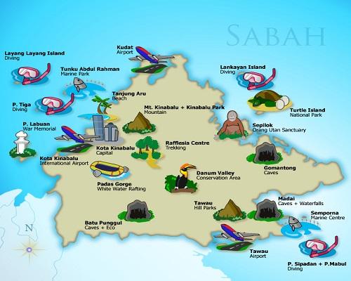 خريطة ولاية صباح ماليزيا 2014