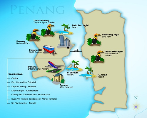 خريطة جزيرة بينانج في ماليزيا 2014