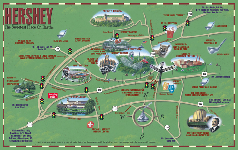 رحلتنا ستكون الى مدينة Hershey (هيرشي ) للشوكلاته
