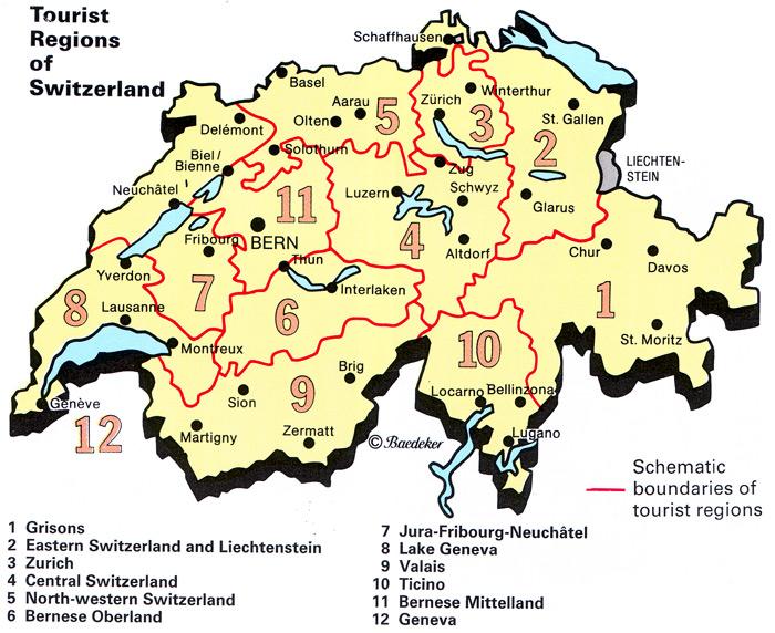 الخريطه السياحيه لسويسرا