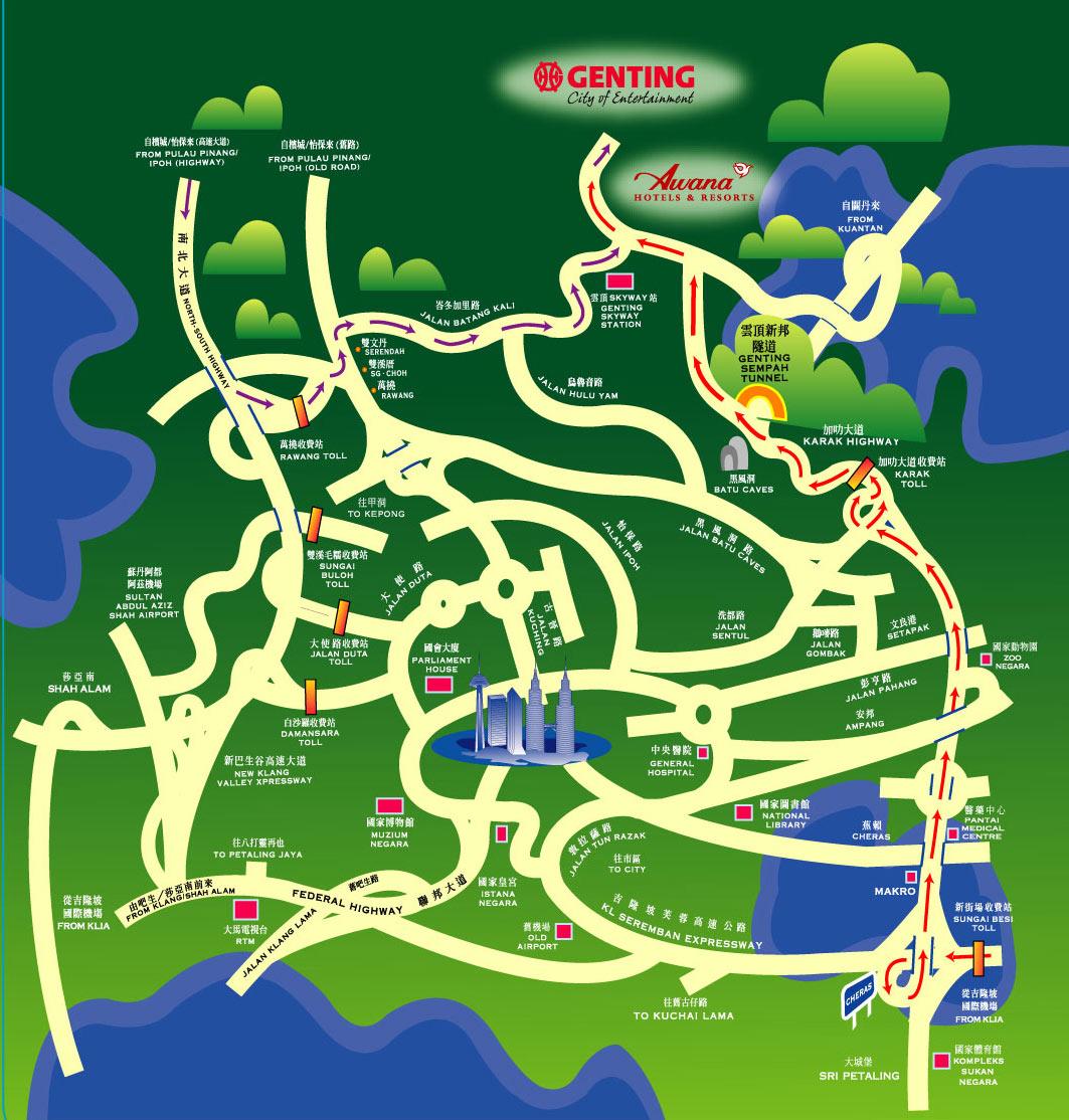 صورة وخريطة نظرة على مرتفعات جنتنج ماليزيا